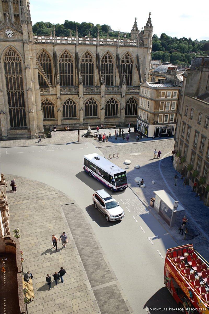 Bath High Street public realm enhancement visualisation